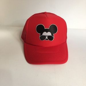 Red Baseball Cap Mickey Mouse w/Sunglasses Patch